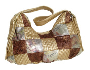 BeltsandStuds PU leather Print Patched Women Tote Shoulder Bag Brown