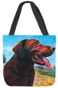 Manual Woodworkers & Weavers View From the Hill Chocolate Lab Paws and Whiskers Square Tote Bag, 17-Inch