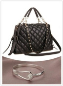 Black Trendy Diamond Quilted Versatile Studded Straps Office Tote Hobo Top Double Handle Satchel Handbag Purse Shoulder Bag
