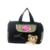 [Bear Catch the Fish] 100% Cotton Canvas Shoulder Bag / Swingpack / Travel Bag