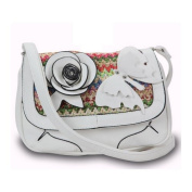Dasein Fashion crossbody bag w/ multi-colored woven straw top flap & flower -White