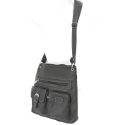 Silver Fever Messenger Italian Leather Shoulder Cross Body Bag Ipad Compatible Unisex