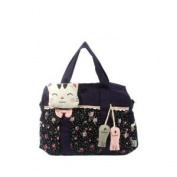 [Cat Catch the Fish] 100% Cotton Canvas Shoulder Bag / Swingpack / Travel Bag