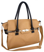 GALIENA Brown Top Double Handle Office Tote Shopper Hobo Shoulder Bag Satchel Purse Handbag by MyGift