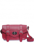 Passion Faux Leather Red Buckle Baguette Shoulder Handbag