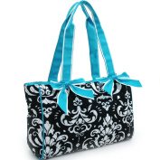 Dasein Quilted Damask Print Shoulder Bag w/ Ribbon Accents -Blue Trim