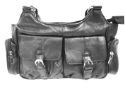 Black Leather Purse-4063 Hobo Style
