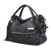 Black Trendy Sequins Studded Straps Office Tote Hobo Top Double Handle Satchel Handbag Purse Shoulder Bag