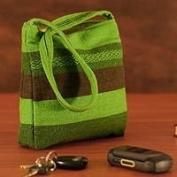 Alpaca wool shoulder bag, 'Green Meadow'