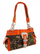 Camouflage Rhinestone Western Buckle Purse Blaze Orange Trim