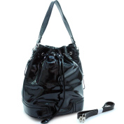 Dasein Dasein designer inspired shiny drawstring hobo handbag -Black