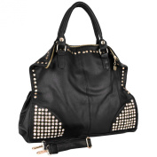 ARRIAN Oversized Black Gothic Rhinestone Studded Top Double Handle Shopper Hobo Office Tote Weekender Handbag Purse Shoulder Bag