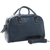 GLADYS Classic Navy Blue Top Double Handle Bowling Style Satchel Shopper Tote Handbag Purse Shoulder Bag