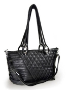 Women's Black uper soft leather-like puffy quilted Silver toned Handbag F57