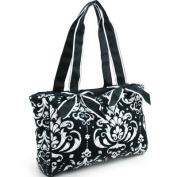 Quilted Damask Print Shoulder Bag w/ Ribbon Accents Black Trim