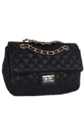 Designer Inspired Faux Leather w/Chain Strap & Gold Accent Hardware by Jersey Bling