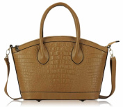 Ladies Tan Brown Croc Long Strap Designer Tote Handbag - KCMODE