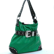 Dasein Rhinestone belt buckle front hobo bag -Green / Black