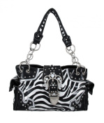 Black and White Rhinestone Studded Zebra Purse with Ornate Buckle