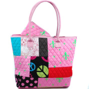 Dasein Women's Patchwork Design Quilted Bag w/ Fleur De Lis Accent -Pink/Green