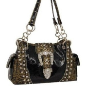 Black Western Buckle Fashion Purse w/Rhinestone