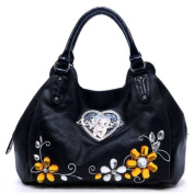 Betty Boop Women's Shoulder Bag w/ Flower Gemstone & Rhinestone Heart -Black
