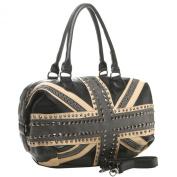 BEGA Gothic Union Jack British Flag Studded Large Top Double Handle Tote Satchel Shopper Hobo Shoulder Bag Handbag Purse