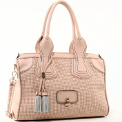 Dasein Women's Classic Faux Leather Shoulder Bag w/ Textured Front & Tassel -Beige