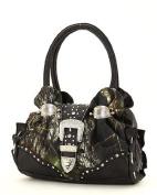 Camo Camouflage Black Western Rhinestone Buckle Satchel Handbag