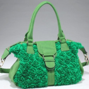 Dasein Decorative rosette shoulder bag with flap over magnetic snap closure -Green