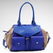 Women's Two-tone Fashion Shoulder Bag w/ 2 Front Pockets -Blue/Light Tan