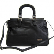 Dasein Dasein Croco Trim Tote Bag w/ Side Belted Accents -Black