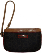 Calvin Klein Monogram Wristlet, Brown/Khaki/Red