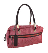 Pink Embossed Ostrich Shoulder Bag with Brown Leather Trim