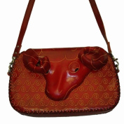 Handmade !! Genuine Leather, Ram Pattern Design. Lovely Shoulder Bag, a Best Gift Choice.