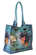 Papaya Art Blue Future Beauty Arm Candy Luxe Oil Cloth Vegan Blue Tote Handbag Purse