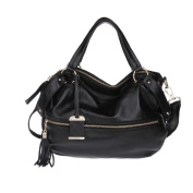 Plusminus Women's Tassel Zipper Shoulder Strap Handbag Black