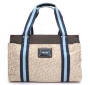 Tommy Hilfiger Medium Beige Iconic Handbag in Navy and Sky Blue Stripe
