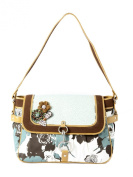Ivory Tag Leather & Fabric Floral Twirl Handbag