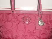 NWT Coach Pomegranate Signature Stitched Nylon Tote Purse Bag 17668