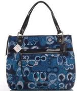 Coach Limited Edition Poppy Glam Shopper Bag Purse Tote 19881 Denim Blue