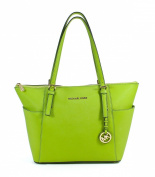 Michael Kors Jet Set East West Top Zip Leather Tote Lime Green