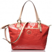 Coach 20028 Peyton Embossed Patent Leather Pocket Tote Papaya / Tan Handbag