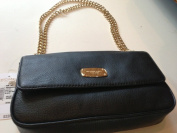Michael Kors Jet Set Gold Chain Black Leather Flap Shoulder Bag Purse