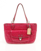 Coach Poppy Quilted Leather Shopper Handbag Purse Tote ~ Fuchsia In Color
