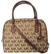 Michael Kors MK Signature LG Satchel Handbag Shoulder Bag - Mocha