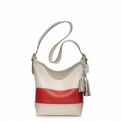 COACH Legacy Rugby Stripe Large Leather Duffle in Parchment / Carnelian 21180