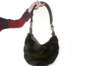 Mahogany Long Hair Full Skin Mink Small Hobo Bag