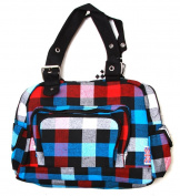 Clover Tote Pockets Style Hand Bag - Checkered Red/Blue/White/Black