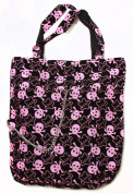 Clover Tote Chain Style Hand Bag - Black, Light Pink Stars and Skulls Pattern